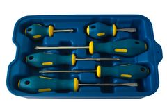 Screwdrivers box set Royalty Free Stock Photos