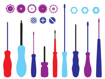 Screwdrivers, gears and caps silhouettes set. Stock Photos