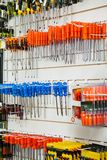 Screwdrivers Hanging In Hardware Shop Royalty Free Stock Images