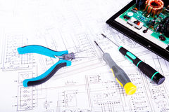 Screwdrivers and plier. Checking and repair of electrical equipment Stock Photo