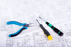 Screwdrivers and plier. Checking and repair of electrical equipment Royalty Free Stock Image