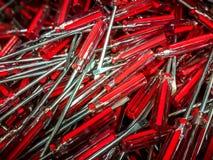 Screwdrivers. Red metal and plastic tool screwdriver for repair stock photo