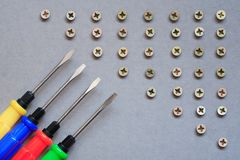 Screwdrivers And Screws Stock Photography