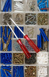 Screwdrivers, screws and dowels Stock Images
