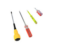 The screwdrivers set. As white background Stock Photography