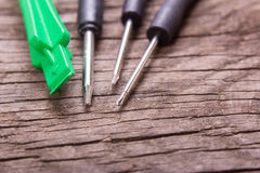 Screwdrivers and tools for repairing the phone stock image
