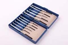 Screwdrivers. Variety of Screwdrivers in blue box stock image