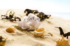 Screwed love letter. A screwed piece of paper with the words I love you written on it symbolizing a lost summer love. The screwed message lies in the sand of a Royalty Free Stock Images