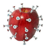 Screwed up diet. Red apple with silver screws on white isolated background Stock Images