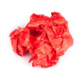Screwed up piece of red paper Stock Image