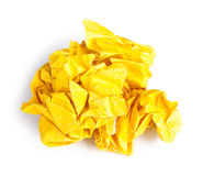 Screwed up piece of yellow paper Royalty Free Stock Image