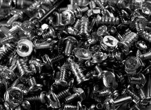 Screws. A pile of srews, black and white Stock Images