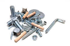 Screws. Group of screws,nuts and shims Stock Photography