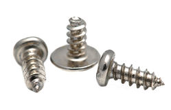 Screws. Metal thread screws. Macro shot on white background royalty free stock photography