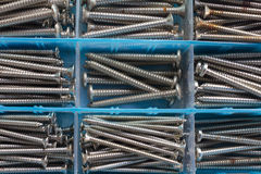 The screws. Neatly organized in tool box Royalty Free Stock Photos