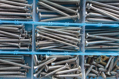 The screws. Screws neatly organized in a tool box Stock Image