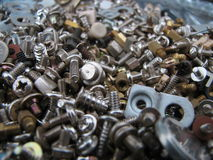 Screws. Collection of screws and computer parts stock photography