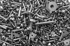 Screws and bolts. Metal screws and bolts background Stock Image