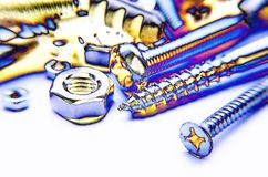 Screws And Bolts Blue Photo Stock Photography