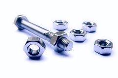 Screws And Bolts Blue Photo Royalty Free Stock Photos