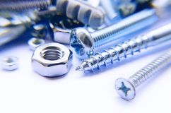 Screws And Bolts Blue Photo Stock Photos