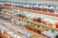 Screws, bolts, dowels and fasteners in store. Screws, bolts, dowels and fasteners in the store Stock Photos