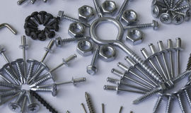 Screws, bolts, nails, dowels, rivets, nuts, Royalty Free Stock Photo