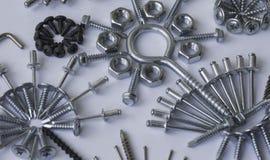 Screws, bolts, nails, dowels, rivets, nuts, Royalty Free Stock Photo