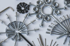 Screws, bolts, nails, dowels, rivets, nuts, Royalty Free Stock Image