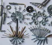 Screws, bolts, nails, dowels, rivets, nuts, Royalty Free Stock Photography