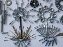 Screws, bolts, nails, dowels, rivets, nuts, Stock Photos