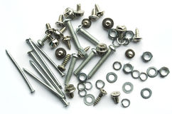 Screws, bolts, nails on white background Stock Photos