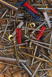 Screws, Bolts, Nails - Wooden Background Stock Photos