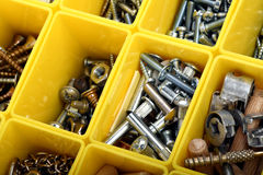 Screws, bolts, nuts and other carpenter stuff in a Royalty Free Stock Photos