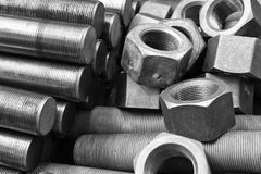 Screws and bolts pile Stock Photos