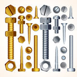 Screws, Bolts and Rivets. Screws, Bolts, Nuts and Rivets, isolated elements for your design Stock Photo
