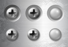 Screws, bolts and rivets. Vector set of screws, bolts and rivets Royalty Free Stock Photos