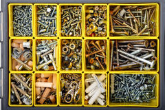 Screws, bolts, wall plugs and nuts Royalty Free Stock Photography