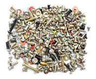 Screws and bolts on white. Background royalty free stock images