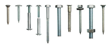 Screws collection. Isolated on white background Royalty Free Stock Photography