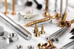 Screws collection. Closeup on white background royalty free stock image