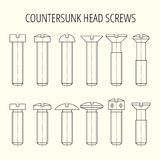 Screws with countersunk head. Different types of head and length Stock Photo