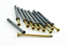 Screws with dowels Royalty Free Stock Photo