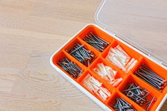 Screws and dowels Royalty Free Stock Images