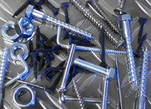 Screws and fittings. From above Royalty Free Stock Images
