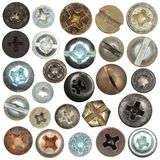 Screws head collection Royalty Free Stock Photos