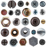 Screws head nut bolt collection set Stock Photo