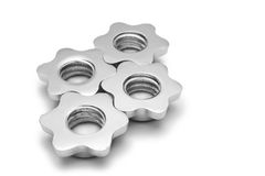 Screws like the cogwheel isolated Royalty Free Stock Photo