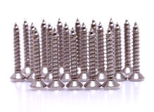 Screws located on a white background Royalty Free Stock Photo