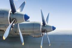 Screws of military huge aircraft. Royalty Free Stock Photos